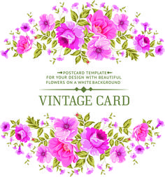 Vintage Flowers With Frame Card Vector Vector Card Free