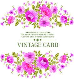 Pink Flowers Vintage Card Vector 01