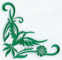 """Simply Hummingbirds CornerProduct ID:D5575 Size:4.82""""(w) x 4.82""""(h) (122.4 x 122.4 mm)Color Changes:1 Stitches:12377"""