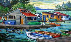 Artwork by artist Greta Guzek, represented by the West End Gallery. Bright Pictures, Art Pictures, Art Images, Polymer Clay Painting, Sailboat Painting, West Art, Canadian Artists, Art And Architecture, Landscape Art