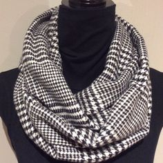 Unisex Black and White Flannel Infinity Scarf by SissyandTodo
