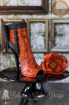 """Copper Lace Boots My shoe for """"a Walk on the wild side collaboration"""". So when I was asked for this collaboration my. Sexy Cakes, Fancy Cakes, High Heel Boots, Heeled Boots, Shoe Boots, Women's Shoes, Ankle Boots, Black Cake Stand, Christian Louboutin"""