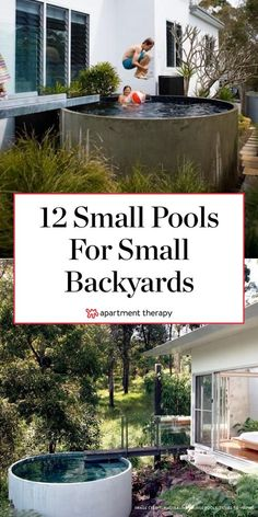 12 Small Pools for Small Backyards. You don't have to have a big backyard to fit in a pool — and Large Backyard Landscaping, Backyard Ideas For Small Yards, Sloped Backyard, Small Backyard Landscaping, Desert Backyard, Landscaping Ideas, Backyard Bar, Small Pools, Small Backyards