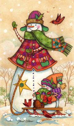 Colourful Snowman Pulling His Little Snow-Son On A Sleigh. Christmas Clipart, Christmas Printables, Christmas Pictures, Christmas Snowman, Winter Christmas, All Things Christmas, Vintage Christmas, Christmas Crafts, Christmas Decorations