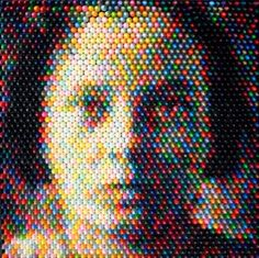 "Struck by the pixel quality of Faur's crayon art. ""This new body of work is composed of hundreds of differently colored crayons arranged by toneal value in the frame to produce beautiful photo-real images."""