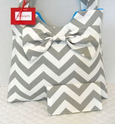 Gray Chevron Purse Diaper Bag with Checkbook Cover by Wishfulgifts, $55.00