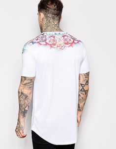 SikSilk | SikSilk Floral Longline T-Shirt With Curved Hem at ASOS