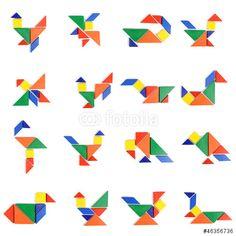 Tangram magnetic cu tablita 2 fete: magnetica si de desen