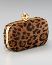 Alexander McQueen / Leopard-Print Calf Hair Box Clutch