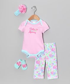 Look at this #zulilyfind! Baby Essentials Light Pink 'Pretty Like Mommy' Bodysuit Set - Infant by Baby Essentials #zulilyfinds