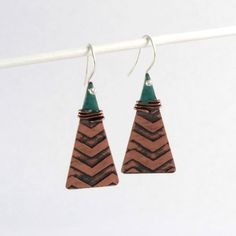 Turquoise copper triangle drop earrings £30.00