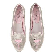 VELVET FLAMINGO ballet pumps, Hefner Grey