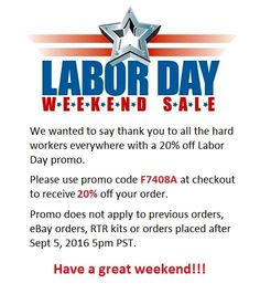 Labor Day weekend promo.   Please use promo code F7408A at checkout to…