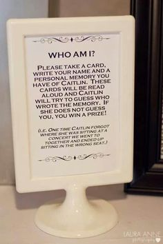 Love love love this idea instead of typical games at a shower. Plus you could keep them with the answers as a memory