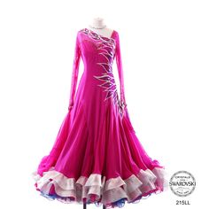 Chrisanne pink with silver crystal design modern dress horsehair