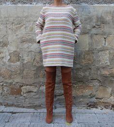 Beige Mini dress, Fall Winter dress, Oversized dress, Tunic, Long sleeves dress, Day dress, Casual dress, Tunic dress