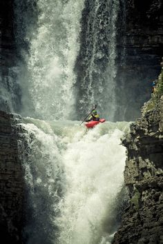 Mikkel St-Jean-Duncan kayaking this 50-foot waterfall at Bighorn River in the Canadian Rockies. Picture: Canon 5D Mark II, 70–200 f/2.8 lens with a 2x teleconverter, ISO 100, f/8, 1/1,000 second