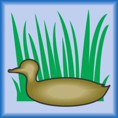Duck Silhouette In Grass clip art