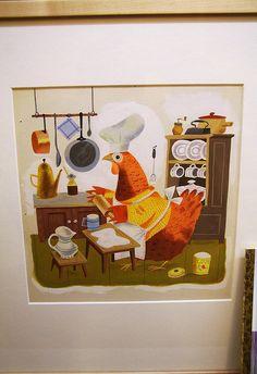 illustration, animal, bird, chicken, interior, naive. by J. P. Miller