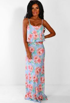 69ba107e024 Paradise Vacay Light Blue Floral Jersey Maxi Dress
