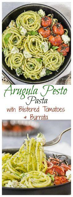 Arugula Pesto Pasta with Blistered Tomatoes, Burrata & Basil. #MeatlessMonday