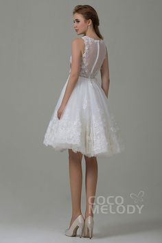 New Arrival A-Line Illusion Natural Knee Length Tulle and Lace Ivory Sleeveless Zipper Wedding Dress with Appliques Beading and Sashes CWZK15002#cocomelody #weddingdresses #vintageweddingdresses