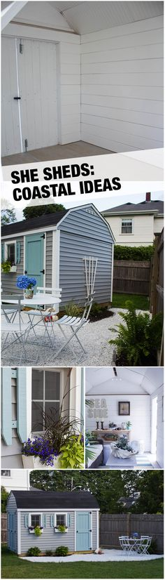 From an ordinary backyard shed to a gorgeous little cottage with a coastal-themed décor... this She Shed is adorable and functional with so many lovely details, including shiplap walls. Get more She Shed inspiration on The Home Depot blog.