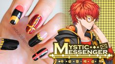 Mystic Messenger (수상한 메신저) • 707 (세븐) Inspired Nails | snowbubblemonster - YouTube