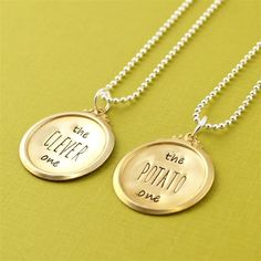 """""""The clever one"""" and """"The potato one"""" necklace set. That is brilliant, haha. Doctor Who reference, Doctor/Strax quote."""