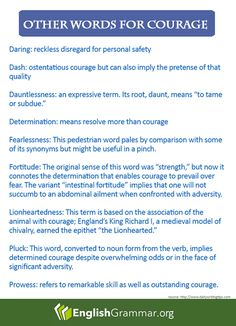 """English Grammar - Which is your favorite alternative word for """"courage""""?"""