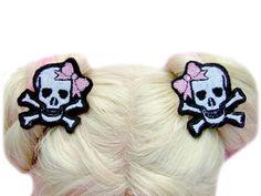 Skull Hair Clip - Girl Hair Clips - Back To School - Little Girl Hair Accessories - Kids Hair Clips - Gothic Hair Accessories by KawaiiHairCandy on Etsy https://www.etsy.com/listing/259003914/skull-hair-clip-girl-hair-clips-back-to