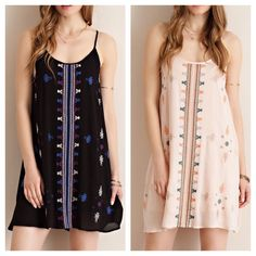Embroidered shift dress with lattice racerback. More colors!