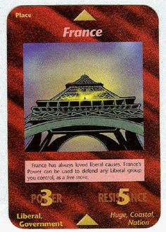 Illuminati Card Game -France. Nazis always want to take over this country because it is an easy win. The french are artists and lean toward nonviolence.