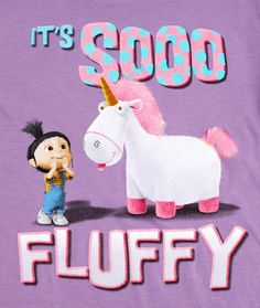 "despicable me unicorn | Despicable Me Unicorn T-Shirt ""It's so Fluffy!"" Kids Lavender (ALL ..."
