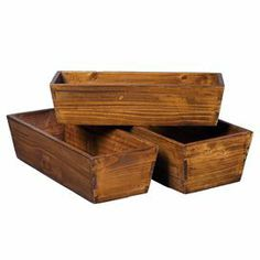 "Set of 3 handmade pine planters.    Product: Small, medium and large planterConstruction Material: Solid pine woodColor: BrownFeatures:  HandcraftedDistressed  Dimensions: 5"" H x 18.5"" W x 8"" D (large)Cleaning and Care: Wipe down with lemon oil for beautiful shine"