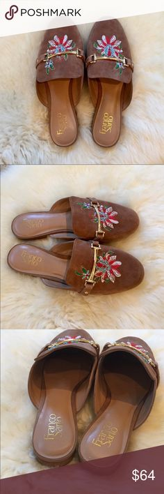 """Franco Sarto Embroidered Suede Mules New In Box- genuine suede camel mules with round toe, gold tone metal bit detail and embroidered detail. Suede upper, manmade sole. Heel 0.75"""". ** Run a little Wide. Franco Sarto Shoes Mules & Clogs"""