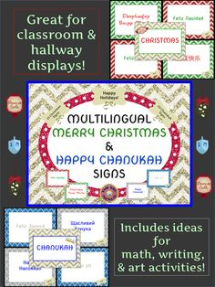 Multilingual hello posters for classroom decor polka dot theme celebrate december holidays around the world by saying merry christmas happy hanukkah in many languages with these mini poster signs m4hsunfo