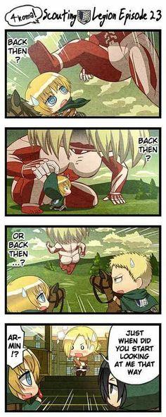 Attack on Titan Armin checking out Annie
