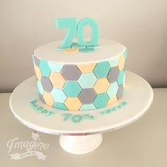 Hexagon geometric cake for a 70th bday