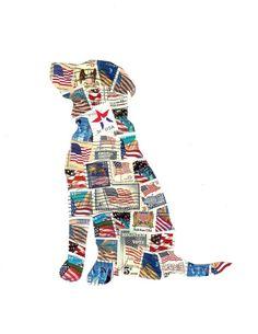 Patriotic Dog United States Flag Postage Stamp Collage via Etsy