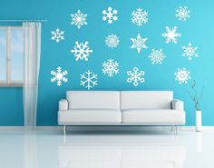 Snow Flakes Removeable Vinyl Wall Decals by CuttinUpCustomDieCut