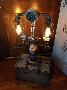 Steampunk Lamp Industrial Unique Vintage Black Steel and Brass Gauge Machine Age   eBay