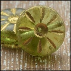 Czech Glass Daisy Beads 12mm - Olive