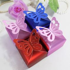 Aliexpress.com : Buy Free shipping 50pcs Royal Blue Butterfly Pattern Top Favor Gift Candy Bomboniere Boxes Wedding Shower Baby Favor Shower from Reliable wedding candy box suppliers on Vanya Tsai's store $16.99