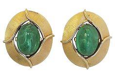 1960s Trifari Givré Faux-Emerald Cabochon Earrings