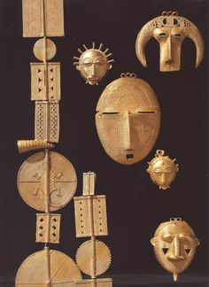 Africa | Beads and pendants from the Ivory Coast. Gold | ca. 19th century