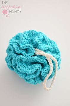 Puffy Bath Pouf - Free Pattern | www.thestitchinmommy.com *** She has created a whole AWESOME Spa Day SET!!! with a CROCHET basket, poufs, wash cloths, etc, PLUS - A Sugar Scrub recipe, too!!!!! ****would make an awesome gift