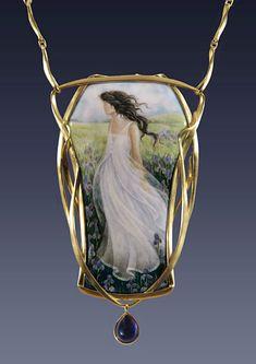 "Larissa Podgoretz   Necklace, ""Iris"", Enamel, 18k gold, Aolite pendant - 3 1/4""high"