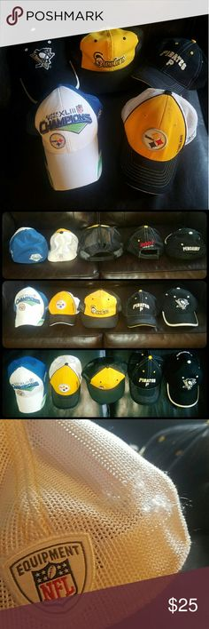 "Lot of 5 Pittsburgh Pirates Penguins Steelers hats Lot of 5 vintage Pittsburgh Pirates Penguins Steelers hats. I tried to show the back, front and tops of all hats. Middle steelers hat is a snap back flat brim. Pens and Pirates are velcro back. White/blue steelers hat is fitted ""one size fits all"". the black/yellow steelers hat with mesh white back is round brim fitted size ""youth"" I want to disclose that it has some small snags on the white mesh in as shown in last photo. Pittsburgh…"