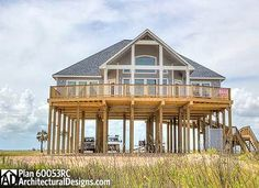 "<ul><li><strong>CLIENT PHOTOS</strong>: See pictures of this built in coastal Texas in our <a href=""http://bit.ly/60053rc-f"">Facebook</a> and <a href=""http://bit.ly/60053rc-gptx"">Google+</a> photo albums.</li><li>Elevated on piers with room for parking underneath, this house plan is perfect for your beach or low country lot.</li><li>There..."